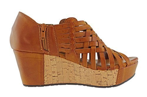Pierre Dumas Women's Natural-1 Vegan Leather Criss Cross Strappy Wedge Platform Sandals,New Tan,6