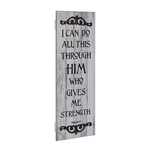 Stonebriar Rustic Decorative Worn White Painted Philippians 4:13 Wall Art with Metal Trim, Religious Wall Decor, Gift Ideas for Friends and Family