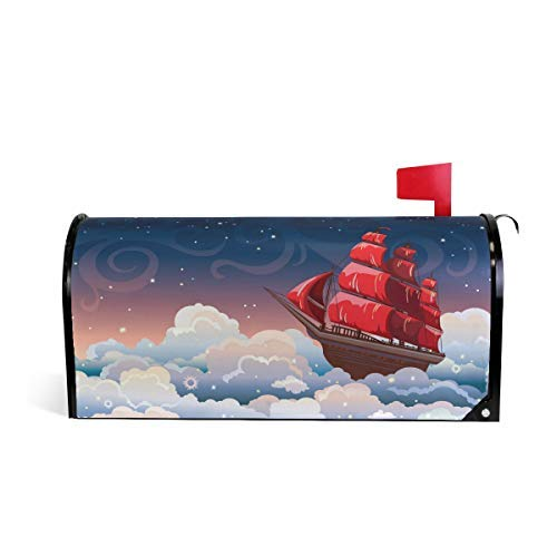 Tollyee Starry Sky with Sailboat Magnetic Mailbox Cover Magnetic Mailbox Cover 9