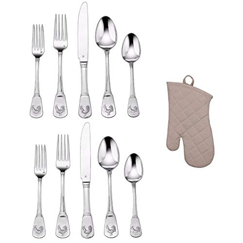 Cuisinart CFE-01-FR20 40-Piece Flatware Set, French Rooster