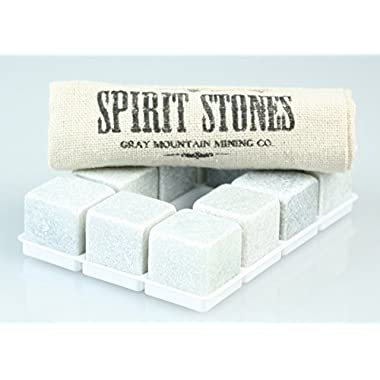 Whiskey Stones - Set of 10 - Best Whiskey Rocks stones made from Pure Soapstone No hassle return