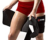 Fitru Premium Thigh Trimmers for Men & Women | Increase Sweating & Circulation | Like A Body Wrap Sauna Waist Trainer for Your Legs (Black, L: 33' X 9')