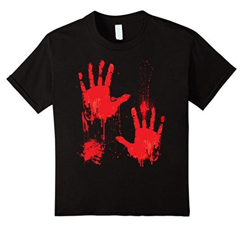 Bloody T Shirt Costume (Kids Bloody T-Shirt Halloween costume Zombie Vampire Hands Drip 10 Black)