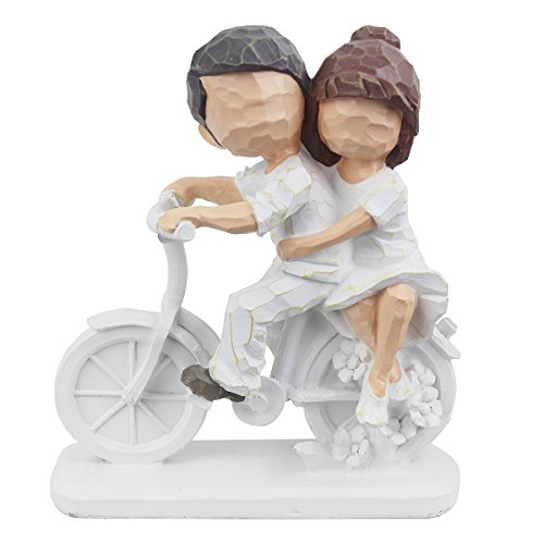 JSYS Resin Collectible Figurines White Carving Bike, Hand Painted a very Young and Lovely Cycling Couples for Couples Gifts or Home Furnishings.