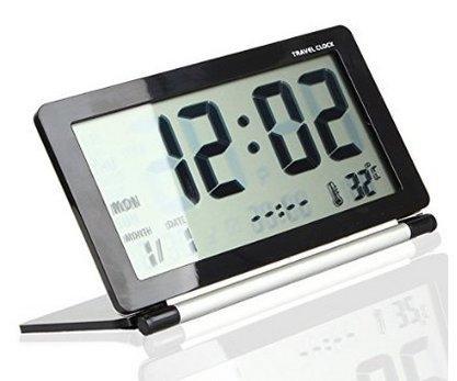 GenLed Mini Foldable Travel Alarm Clock with Temperature & Date & Week & Repeating Snooze Silent LCD Digital Screen Alarm Clock (Black+Silver)