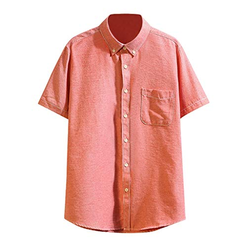 Men Summer Pocket Buttons Tops Casual Patchwork T-Shirt Short Sleeve Shirt Watermelon Red -
