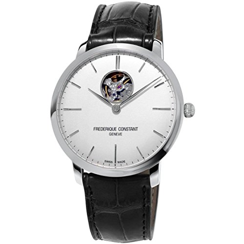 Frederique Constant Men's 'SlimLine' Swiss Automatic Stainless Steel and Leather Dress Watch, Color:Black (Model: FC-312S4S6)