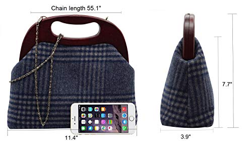 Strap With Wedding Lovful Handbag Cocktail Womens Evening Blue Bag Checked Party Chain Clutch Detachable wqxX8fqA