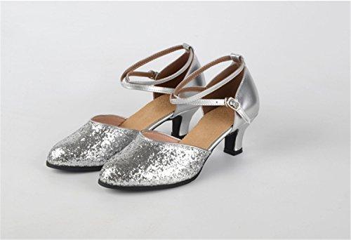 shoes de Blandos Plaza Baile de Latino Baile Salón Moderna Plaza Silver Lentejuelas Ruanlei de de 4AwTqEqx