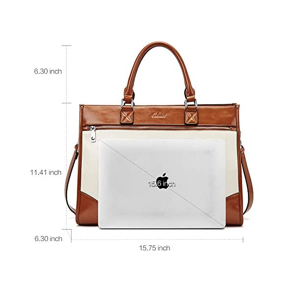 CLUCI Womens Briefcase Oil Wax Leather 15.6 Inch Laptop Business Vintage Ladies Large Capacity Shoulder Bag Beige with Brown 3