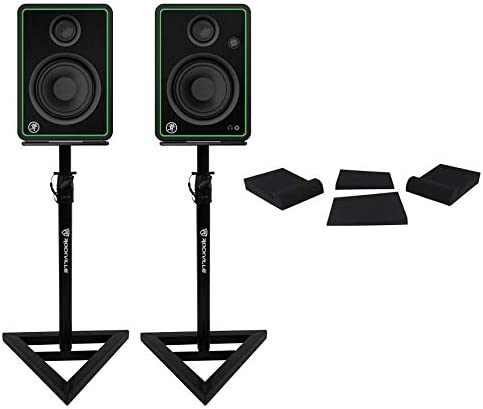 2) Mackie CR4-X 4″ Reference Multimedia Studio Monitor Audio system+Stands+Foam Pads