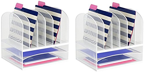 Safco Products 3255WH Onyx Mesh Desktop Organizer with 6 Vertical/ 2 Horizontal Sections, White (2 Pack) by Safco Products