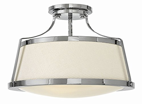 Hinkley 3522CM Transitional Three Light Semi Flush Mount from Charlotte collection in Chrome, Pol. ()