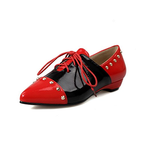 AmoonyFashion Womens Assorted Color PU Low-Heels Pointed Closed Toe Lace-up Pumps-Shoes Red 61eE6