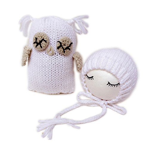 Fashion Newborn Boy Girl Baby Costume Knitted Photography Props Hat Owl (White)