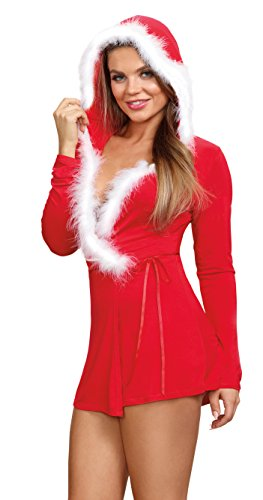 Mrs Claus Robe (Dreamgirl Women's Jersey Santa-Themed Red Robe with Marabou-Trimmed Hood - L)