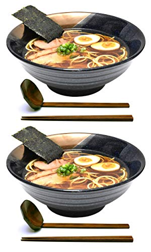 2 sets (6 piece) 51 fl oz. Large Ceramic Japanese Ramen Noodle Soup Bowl Dishware Set with Matching Spoon and Chopsticks for Udon Soba Pho Asian Noodles (Blue with Gold Accents) ()