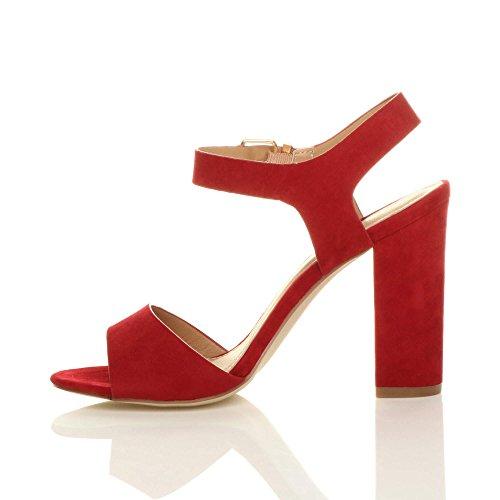 Alla Sandali Donna Rosso Con Fibbia Casual Alto Tacco Scamosciata Caviglia Numero Cinturino Scarpe YqYw8B
