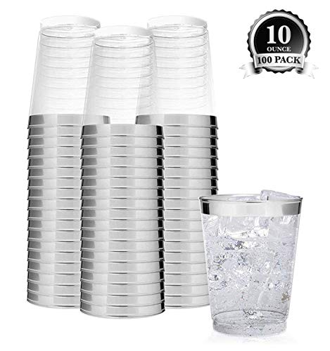 Clear Plastic Disposable Party Cups (100 Count) 10 Oz Silver Rim Cups - Fancy Reusable Plastic Tumblers, Silver, 10 Ounce