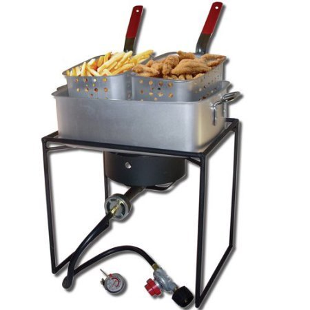 Rectangular Outdoor Cooker Package with 15 qt. Rectangular Fry Pan
