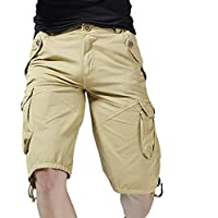 Scaling☸ Mens Fashion Cargo Shorts Casual Loose Solid Color Sport Short Pants Cotton Beach Gym Short Trouser with Pocket