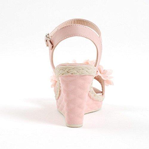 COOLCEPT Mujer Moda Correa de Tobillo Sandalias Slingback Tacon de Cuna Zapatos Flor Rosado