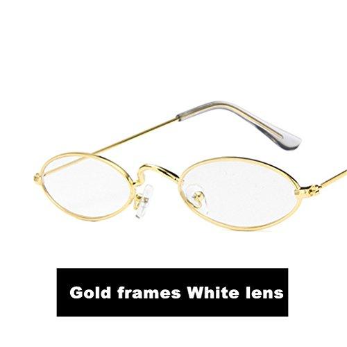 hombre Para Metal de sol Marcos Nuevo Oro Casual Gafas Moda Oval HD Lente Guay Blanco Gafas el 2018 qRIAq4