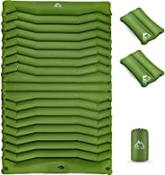 Kings Trek Double Camping Pad with Air Pillow, Self-Inflating Sleeping Pads for Caming - Lightweight Caming Ma