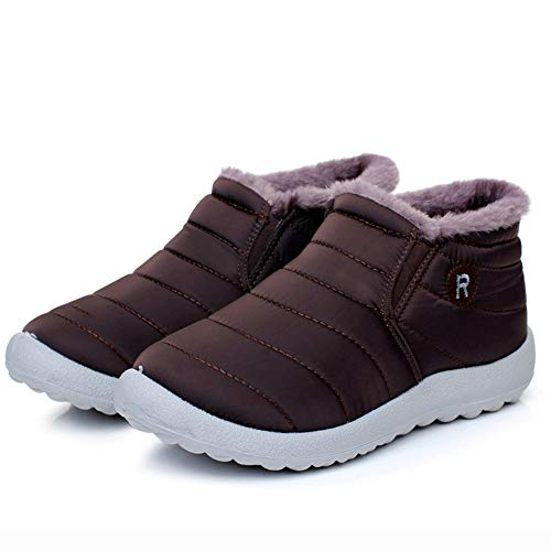 Fur On Waterproof Womens Ankle Boots Lining Slip Outdoor Winter Snow Khaki Loafer BwBxZtRHq
