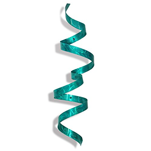 Contemporary Metal Wall Sculpture - Modern Handcrafted Abstract Wall Twist Metal Art - Blue Home Accent Wall Decor - Teal Twist by Jon (Wall In Metal Wall Sculpture)