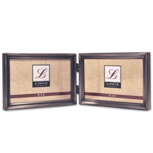 Lawrence Frames Antique Pewter 4x6 Hinged Double Horizontal Picture Frame - Bead Border Design - Antique 3 X 5 Picture Frames