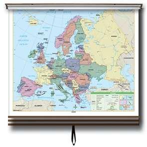 Eastern Hemisphere Essential Wall Map Set on Roller w/Backboard-Your choice wall or wipeboard/chalkboard mount.