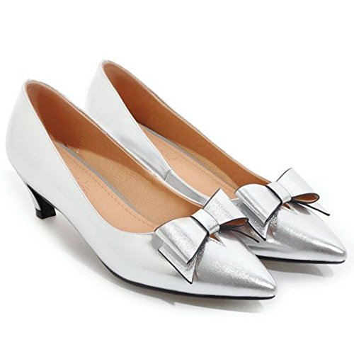 Heel Women Bowknot Silver Court Kitten TAOFFEN Shoes Fashion qUTWw1TFR