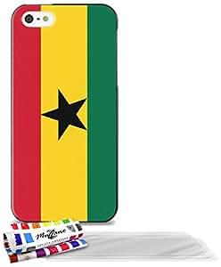 """Carcasa Flexible Ultra-Slim APPLE IPHONE 5 de exclusivo motivo [Ghana Bandera] [Negra] de MUZZANO  + 3 Pelliculas de Pantalla """"UltraClear"""" + ESTILETE y PAÑO MUZZANO REGALADOS - La Protección Antigolpes ULTIMA, ELEGANTE Y DURADERA para su APPLE IPHONE 5"""