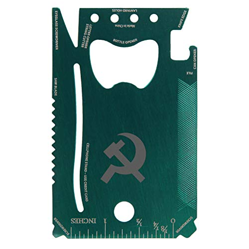 Communist Engraved Green Wallet Multitool Card With 12 Functions - Portable Survival Multitool Card - Card Wallet Tool For Party Favor Or Gift