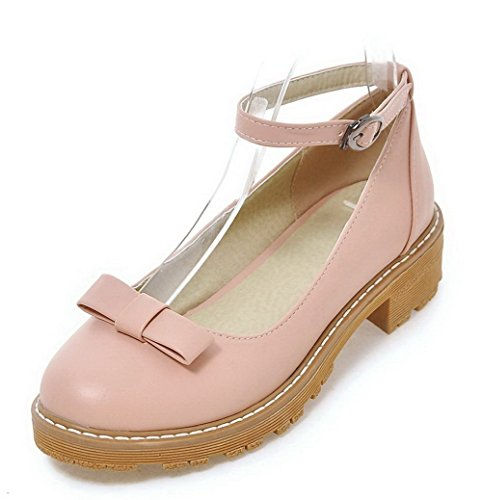 VogueZone009 Women's Pu Low-Heels Closed-Toe Soild Buckle Pumps-Shoes Pink 3zpTBlruGo