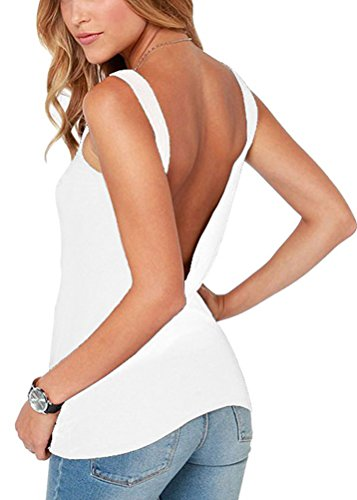 Mippo Women's Sexy Jersey Crop Tops Summer Cute Halter Neck Backless Shirt Low Back Tank Tops Flowy Loose Fit Backless Tee Shirts White ()