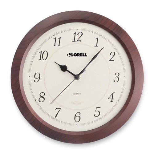 Clock Wall Lorell - Lorell Wall Clock with Arabic Numerals, 13-1/2-Inch, White Dial/Mahogany