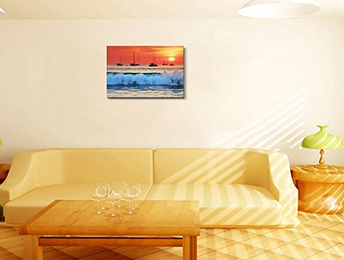 Sea Waves on The Beach at Sunset Wall Decor