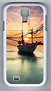 Boat at Sunset PC Case Cover for Samsung Galaxy S4 and Samsung Galaxy I9500 White