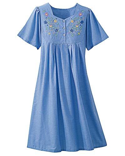 National Embroidered Chambray Lounge Dress, Blue, 1X (Petite Patio Dress)