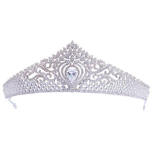 70ILY Royal Wedding Bridal Headband Flower CZ Crown Tiara Headdress Hair Accessories