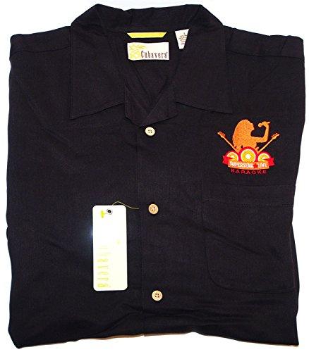 CUBAVERA Men's BLACK Size L Bedford Cord Blended Camp Shirt - KARAOKE - Shirts Camp Carnival