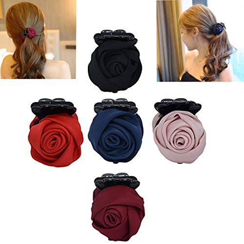 Set of 5 Fashion Pure Colour Rose Bow Flowers Plastic Claw Jaw Hair Clip,Ponytail Holder for Women Lady Girls (5 Colors)