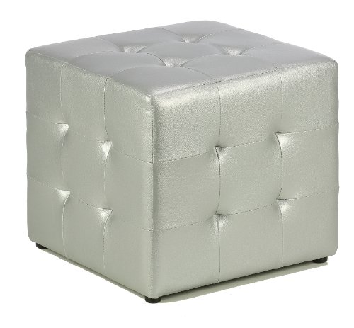 (Cortesi Home Apollo Cube Ottoman, Metallic Silver Faux Leather)