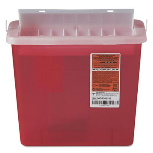 Sharps Container for Patient Room, Plastic, 5qt, Rectangular, Red, Sold as 1 Each ()