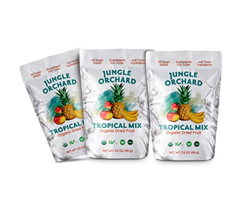 Jungle Orchard Fair Trade Organic Dried Tropical Mix Fruit, Large Bag 3.5 oz (3 -