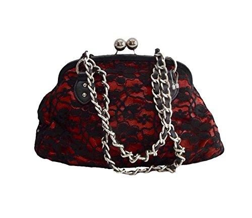 (Nine West Kisslock Satchel Handbag Purse Red Black Lace Kiss Lock)