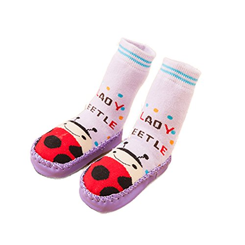 (CONVER-X Cute Baby Boys Girls Toddlers Moccasins NON-SKID Indoor Shoes Socks/Slippers (1.5-2.5 Years, Ladybug))