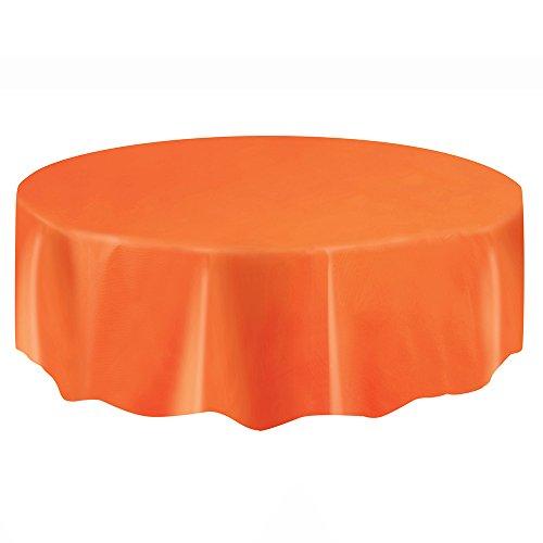 Round Orange Plastic Tablecloth, 84